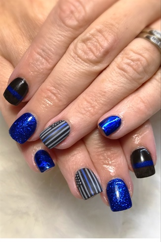 Thin Blue Line Nails : nails, Jdeviva