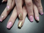 baby pink and gold nail art