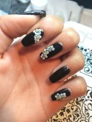 shellac with acrylic daisy - nail