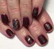 matte bordeaux & gold holiday nails