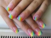 neon rainbow tips - nail art
