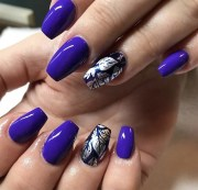 purple acrylic nails with feature