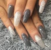 long grey and silver acrylic nails
