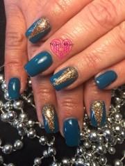 teal & gold - nail art