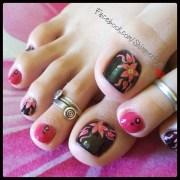 floral toe nails - nail art
