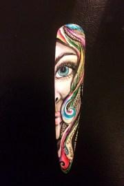 hand painted face - nail art