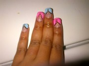 baby blue pink french tip - nail