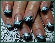 black and teal - nail art