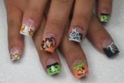 glitter halloween nails - nail