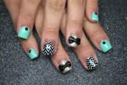 glitter chevron bow nails - nail