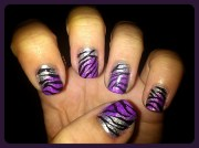 silver&purple zebra nail art