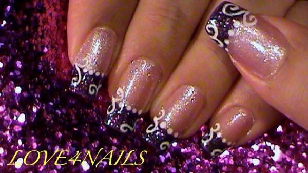 Purple Glitter White Swirls