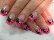 pink bows - nail art