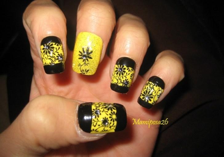 Nail Art Black And Yellow