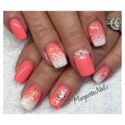 coral & white - nail art