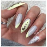 grey and yellow - nail art