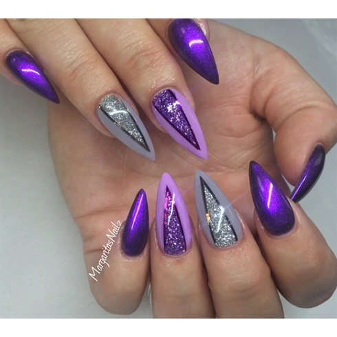 Black Bricks Design Nail Art Rose And Purple With Studs Cool Flowers Glitter Cute Read