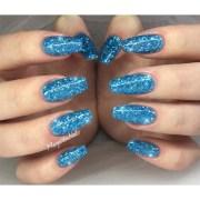 blue glitter nails - nail art