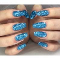 Blue Glitter Nails