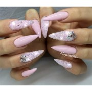 pink bling stiletto nails - nail