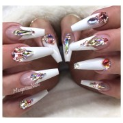 white bling nails - nail art