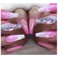 Pink Ombr Coffin Nails - Nail Art Gallery