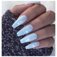 Ice Blue Glitter Nails - Nail Art Gallery