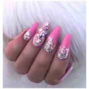 glitter ombr pink bling coffin