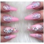 barbie pink glitter ombr coffin
