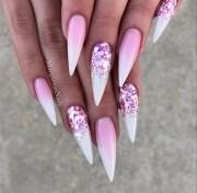 pink white rose glitter ombr stilettos
