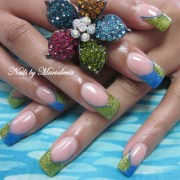 lime green teal - nail art