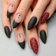 matte polka dot nails - nail art