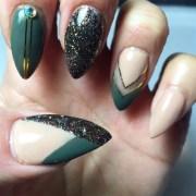 army green and nide - nail art