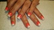 orange white ombre - nail art