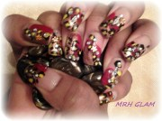 red and bronze leopard - nail art