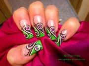 green black and white swirls nails