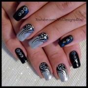 nail art tattoo black and silver