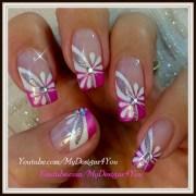 floral pink nail art spring-summer