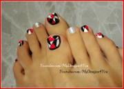 retro mosaic toenail art design