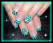 teal polka dots - nail art