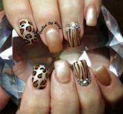 animal print fall - nail art