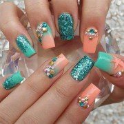 orange and blue nail art
