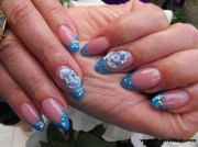 light blue almond shaped nails