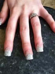 silver fade wedding nails - nail