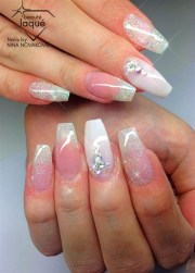 white wedding - nail art