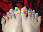long flower bling design toes