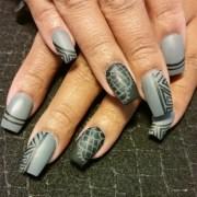 matte grey and black - nail art