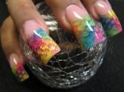 tie-dye rockstar acrylic - nail