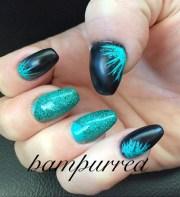 teal and black coffin nails - nail