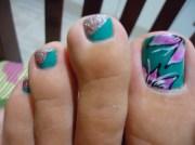 meadow green toe nail art